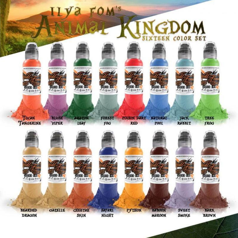 World Famous Tattoo Ink - Ensemble de 16 couleurs Animal Kingdom
